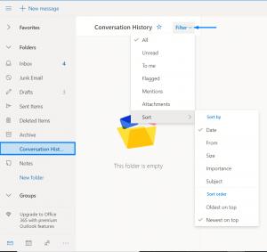 how to sort inbox in outlook a-z